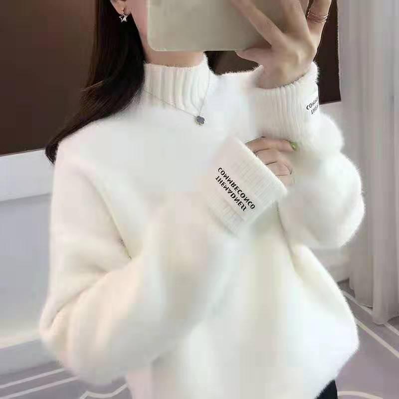 Mind-casual Fashion Women's High-necked Hair Fake Mink Velvet Knitwear  High-end Fashion Loose Korean Version Round-neck Sweater