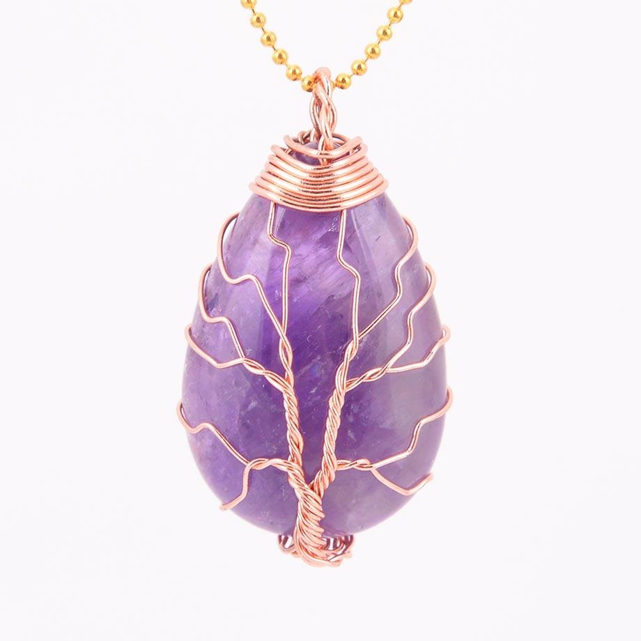 Natural Opalite Gem Tree Of Life Locket Retro Silver Pendant Jewelry making