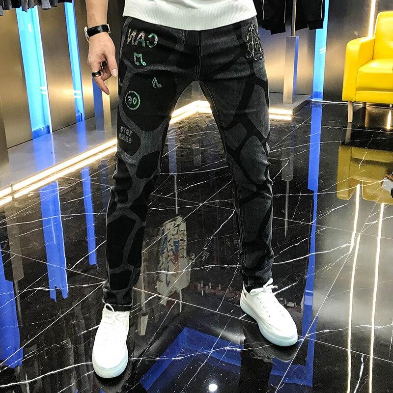Мужские джинсы с вышивкой, серые повседневные эластичные леггинсы с надписью, осень 2020