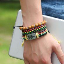 3Pcs Jamaica Leather Weed Hemp Cord Woven Braided Bracelets Rasta Reggae Jeweley