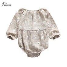 Коллекция года, весенне-осенняя одежда для малышей хлопковый льняной комбинезон с длинными рукавами и открытыми плечами для новорожденных и маленьких девочек, комбинезон с цветочным рисунком, на возраст от 0 до 24 месяцев