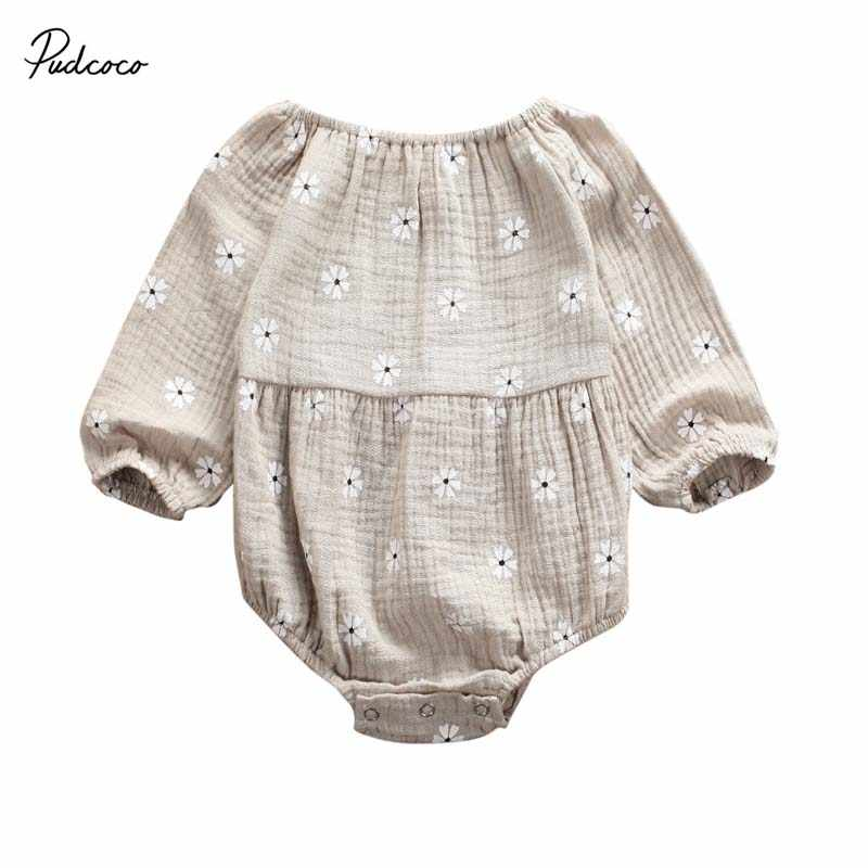 2019 Baby Spring Autumn Clothing Newborn Infant Baby Girls Cotton Linen Long Sleeves Off Shoulder Floral Bodysuit Jumpsuit 0-24M