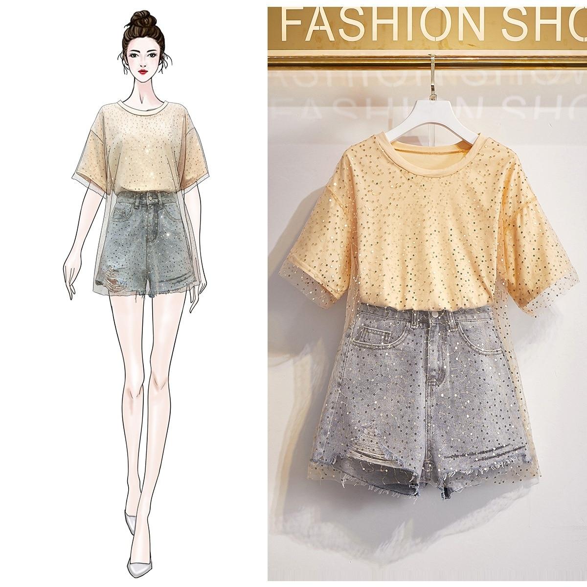 19 Sense Of Design Flashing Sequin Gauze T-shirt Double Layer Hollow Out Tops + High-waisted Versatile Denim Shorts Wide-Leg Sho
