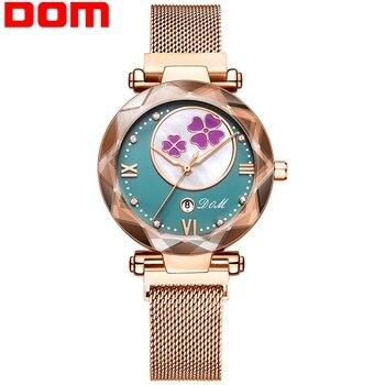 Women Watch Luxury Magnetic Buckle Mesh Band Quartz Wristwatch Female Rose Gold  Watches zegarek damsk