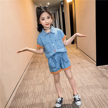 Girls Clothes Set Summer Teen Children Clothing Girls Sports Suit Fashion Color Patchwork Denim Kids Sets Casual Outfits corduroy teen 2018 children clothing set cotton kids outfits autumn teenage girls clothes winter set shirts pants sports suits