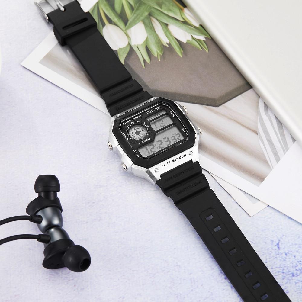 Ohsen 1810 relógio de silicone eletrônico masculino