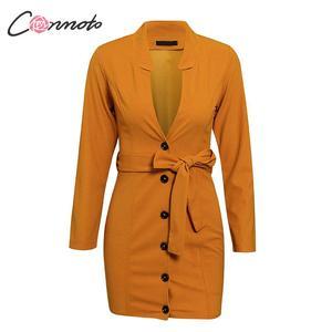 Image 2 - Conmoto חורף 2019 סקסי V שמלות נשים כפתור Bodycon מסיבת מועדון Feminino שמלת חלוק עניבת פרפר נשי בתוספת גודל שמלות vestidos
