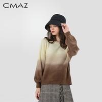 CMAZ Casual Gradient Pullover Autumn Winter Knitwear Loose Lantern Sleeve Long Sleeve O Neck Sweater Tops MX18D5528