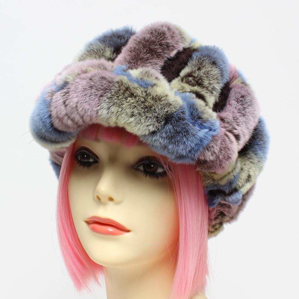 New Fashion Genuine Rex Rabbit Fur Hats 100% Natural Real Rex Rabbit Fur Caps Brand Casual Knitted Warm Real Fur Beanie
