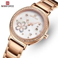 Top Marke NAVIFORCE Luxus Kristall Frauen Uhr Rose Gold Stahl Damen Handgelenk Uhren Armband Mädchen Uhr Datum Relogio Feminino