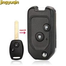 цена на jingyuqin Modified Remote Flip Car Key Shell For Honda fit Accord Civic 2006-2011 CRV 2018 Pilot 2 BTN Key Fob with Button Pad