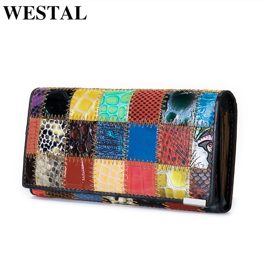 WESTAL women's wallet genuine leather purse/wallet for women/lady fashion woman's clutch bag women's purse long card holder 4131