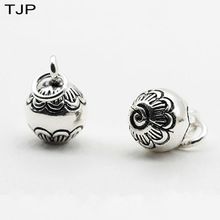 S925 Pure Thai Silver Carved Ball Bell Pendant DIY Jewelry Bracelet Necklace Beads