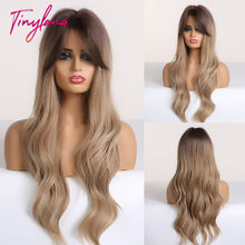 TINY LANA Synthetic Wigs for Black Women natural Ombre Brown Blonde Wigs with Bangs cosplay long colorful wigs Heat Resistant(China)