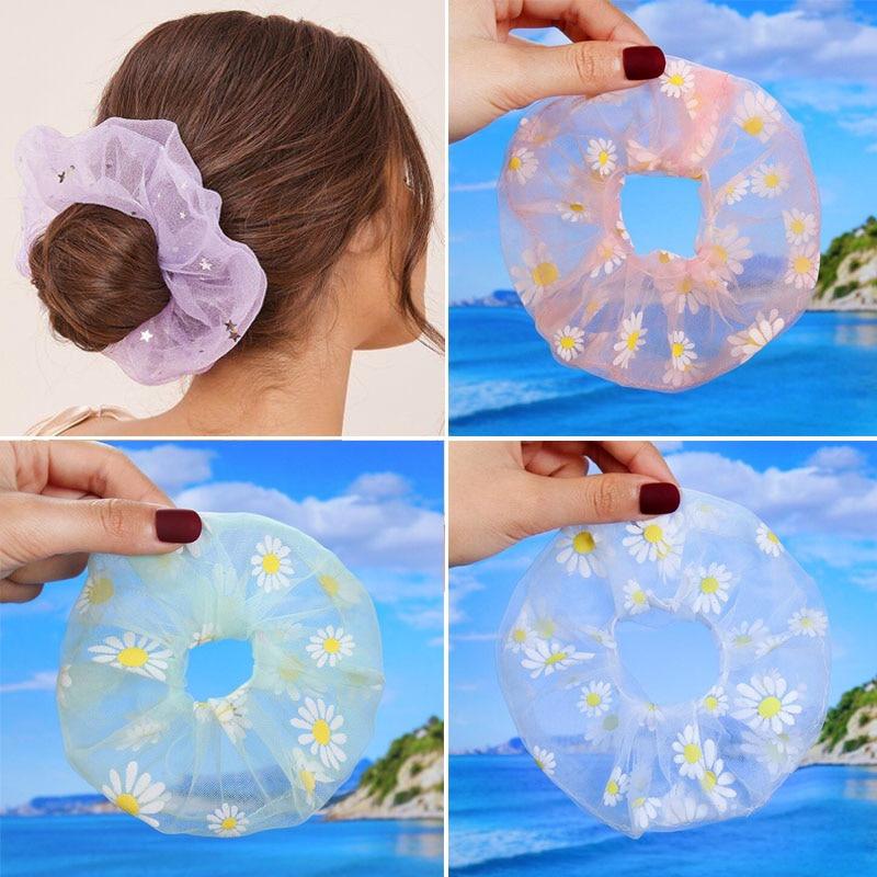 2PCS 2020 Mesh Chiffon Flower Scrunchie Women Girls Elastic Hair Rubber Bands Hair Accessories Ring Rope Holder Headwear Holiday