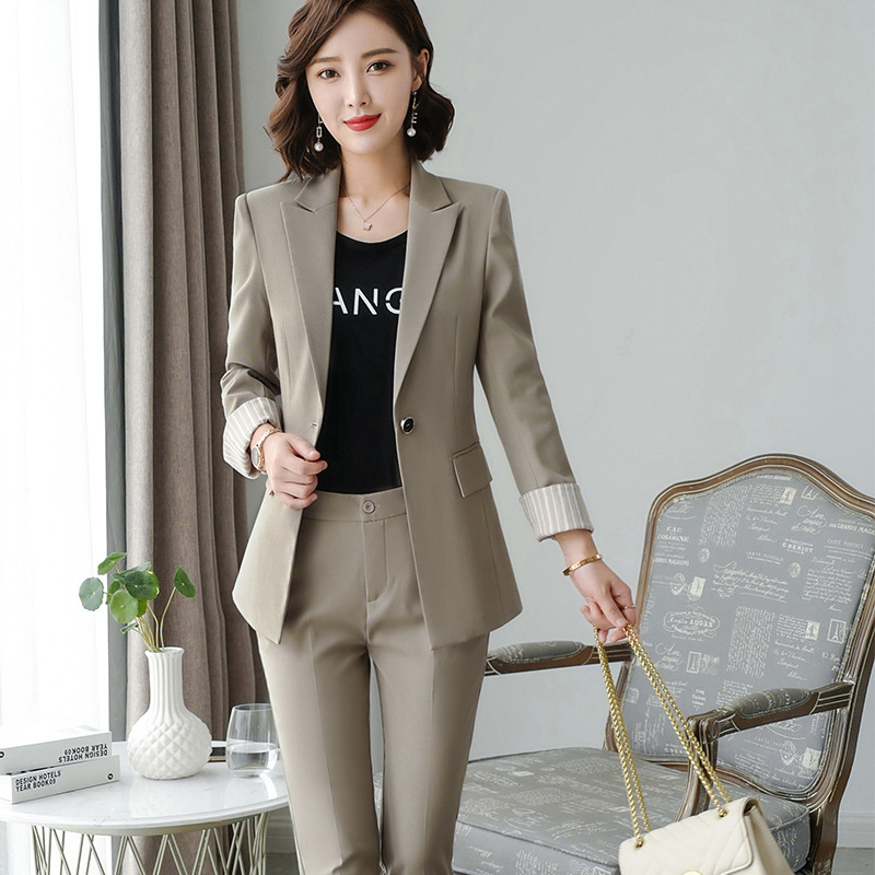 Women's clothes autumn and winter new fashion solid color single buckle lapel suit suit urban capable female overalls two-piece 37