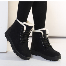 Women Snow Boots Winter Warm Plush Insole Square Heel Ankle Boots Lace-Up Casual