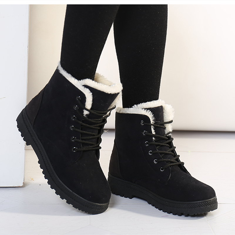 Women Snow Boots Winter Warm Plush Insole Square Heel Ankle Boots Lace-Up Casual Flock Women Shoes Plus Size 44
