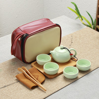 Portable Ceramic Teacup Set Vintage Kungfu Tea Mug Pot Tray with Storage Bag for Travel MF999|Teaware Sets| |  -