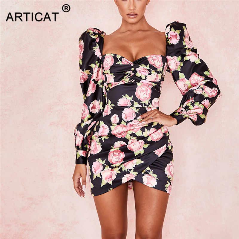 Articat estampado Floral Vintage mujeres Bodycon vestido Puff manga fuera del hombro Irregular vestido de fiesta botones elegante corto Club vestido
