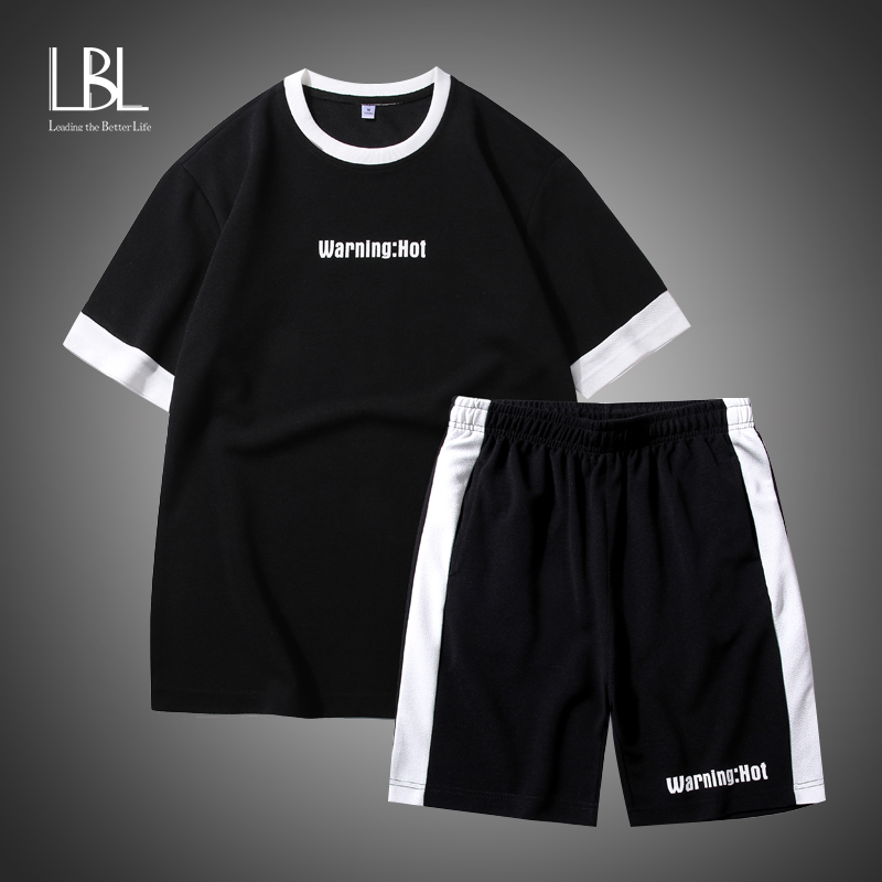 Fashion Short Sleeves Suit Set Print T-shirt Men's Cotton Tracksuits 2020 Summer Clothes TOP TEES Tshirt Plus Asian Size M-5X