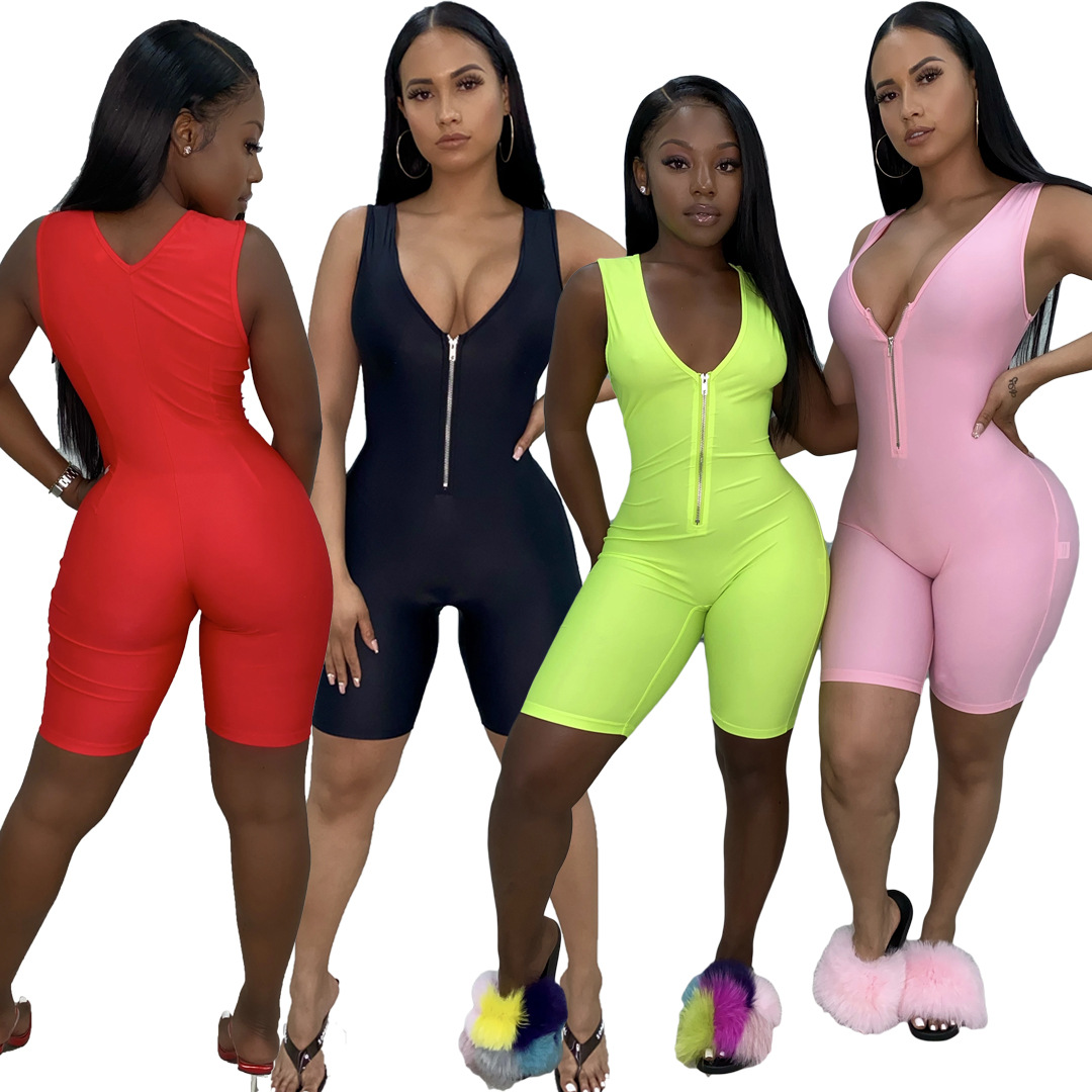 Women Sleeveless Solid Playsuit 2020 Skinny V Neck Playsuit Fashion Club Party Streetwear Body Outfits Summer Romper Plus Size