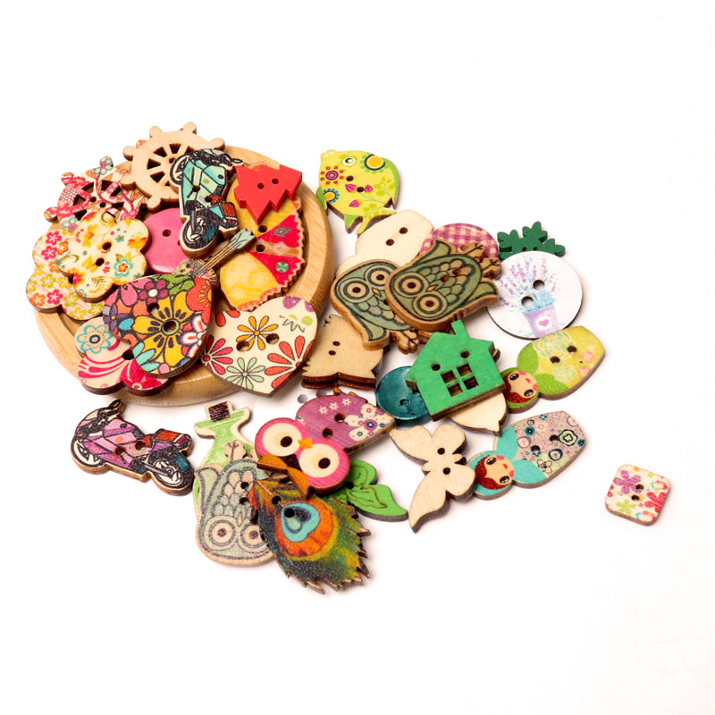 Nice 2020new Button Fashion Mix 30pc Mixed Painting Wooden Buttons For Crafts Scrapbooking Sewing Clothes Button Diy Apparel Supplies