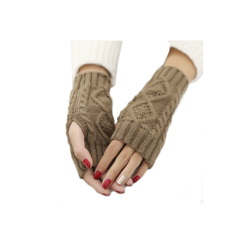 Women's Half Finger Gloves Diamond Rhombus Warm Gloves In Autumn And Winter Thickened Knitted Gloves