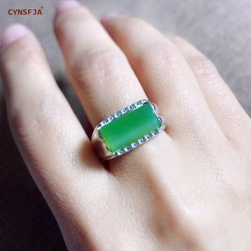 Cynsfja real certified ナチュラル和田ジャスパー軟玉 925 スターリングシルバーメンズお守り緑のヒスイのリング高品質ベストギフト