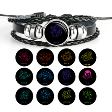 Handmade Multilayer Leather Bracelet 12 Constellation Charms Zodiac Sign Glass Punk Jewelry for Couple Accesory Gifts