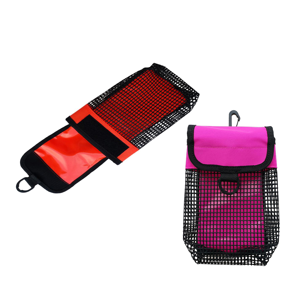Pack Of 2 Ultralight Compact Mesh Gear Bag Pouch & Clip Scuba Diving Reel & SMB Equipment