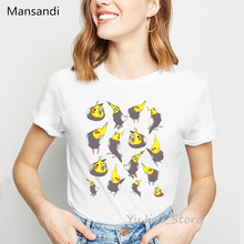 Chubby Cockatiels bird animal print t-shirt women harajuku k