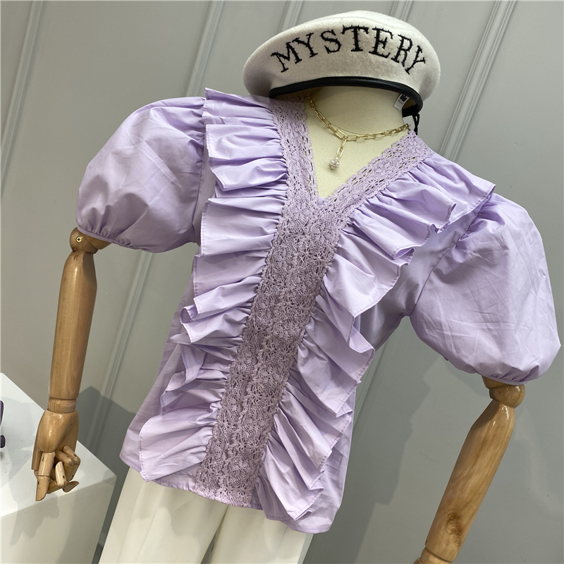 Women Summer Short Sleeve Blouse Sweet Lace Hook Lace Stitching V-neck Ruffle Puffed Sleeves Shirts Casual Tops Women Blouse
