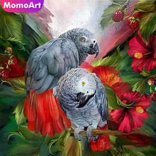 MomoArt Diamond Painting Parrot Mosaic Full Square Picture Of Rhinestone Embroidery Animal Home Decor