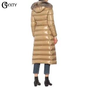 Image 5 - Gbyxty本物のキツネの毛皮の襟厚い 2020 冬の女性のフード付きロングダックダウンジャケットアウターフェザーパーカーブランドZA1766