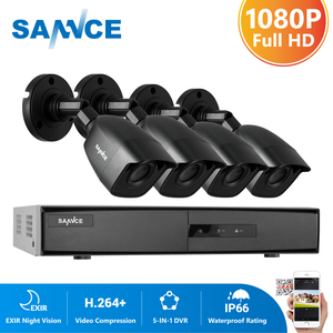 SANNCE 8CH 1080N DVR 1080N CCTV System 4pcs 1080P 2.0MP Security Cameras IR outdoor IP66 Video Surveillance kit motion detection(China)