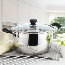 1pcs Stainless Steel pot 1.5L 4L Double Bottom Soup Pot Nonmagnetic Cooking Multi purpose Cookware Non stick Pan general use