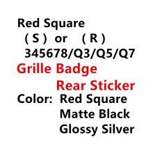 Металлическая 3D наклейка R S Q 3 4 5 6 7 8, красная, серебристая, черная, аксессуары для стайлинга автомобиля, значок на переднюю решетку багажника...