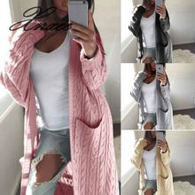 Women Long Cardigan Sweater Top Sleeve loose knitting cardigan sweater Knitted Female pull femme