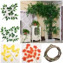 Faux-Plants Greenery Eucalyptus-Leaves Plastic Artificial Mall-Decoration Garden Sale