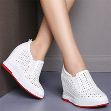 Women Genuine Leather Wedges High Heel Sport Gladiator Sandals Female Pointed Toe Platform Pumps Shoes Summer Fashion Sneakers summer pumps women genuine leather sports gladiator sandals ladies platform wedges high heel mary jane shoes female casual shoes