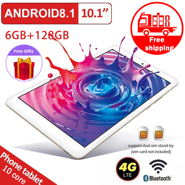 Android Tablet 10,1 pulgadas 2560X1600 Core 6GB RAM 128GB ROM WiFi Bluetooth tableta GPS PC Dual SIM tres Cámara envío gratis