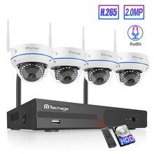 Sistema de CCTV inalámbrico Techage 4CH 1080P HD NVR 2 uds Domo 2.0MP IR al aire libre impermeable Wifi Kit de vigilancia de seguridad sistema de cámara