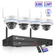 Techage 4CH kablosuz CCTV sistemi 1080P HD NVR 2 adet Dome 2.0MP IR açık su geçirmez Wifi güvenlik gözetim kiti kamera sistemi