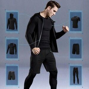 Image 1 - WorthWhile 6 Pcs/Set Sports Tracksuit Men Compression Suit Gym Fitness Clothes Running Set Jogging Training Workout Sport Wear