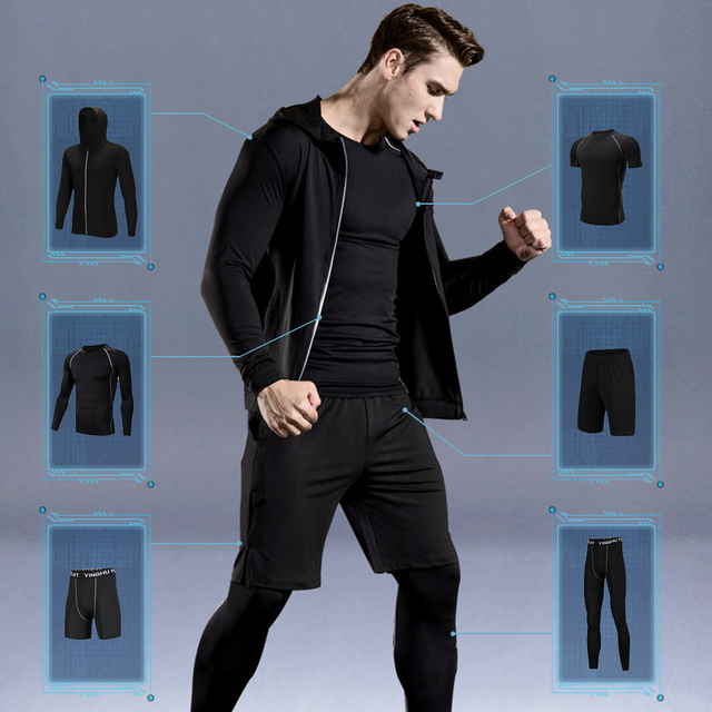 WorthWhile 6 Pcs/Set Sports Tracksuit Men Compression Suit Gym Fitness Clothes Running Set Jogging Training Workout Sport Wear
