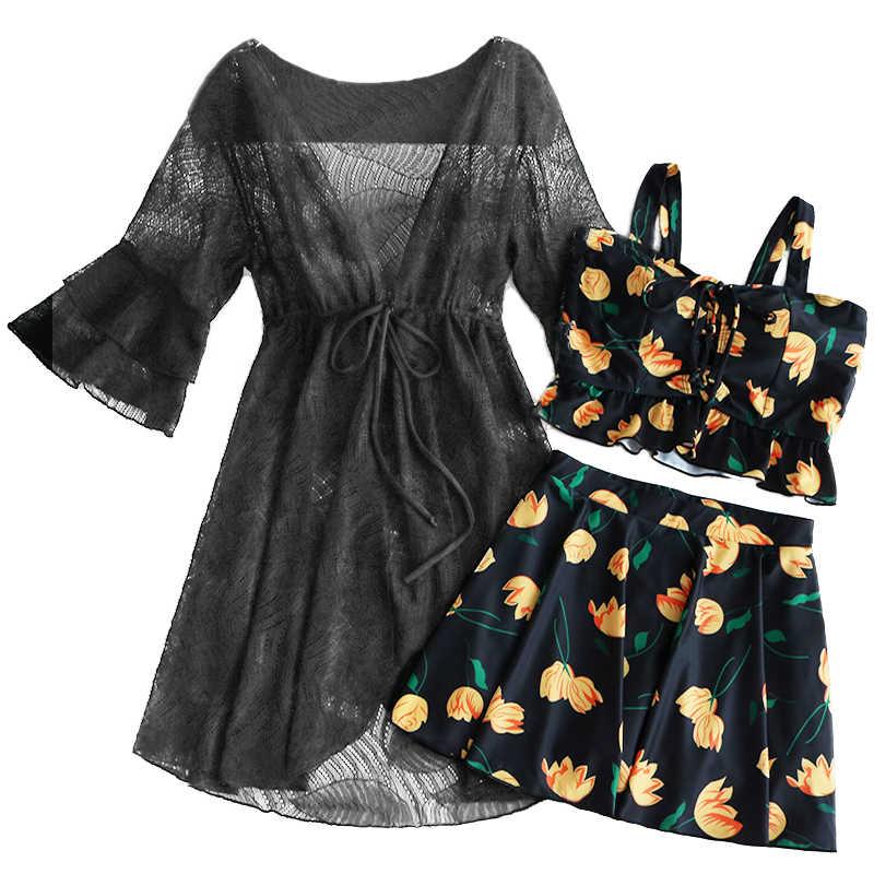 STAERK maillot de bain pour femme avec jupe ensemble bikini blouse en dentelle tankini maillot de bain femme ensemble soutien-gorge Push-up soutien-gorge à volants