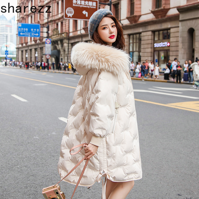 2019 New Winter Women Big Fur Collar Oversize Down Long Coat Female Thick Warm Hooded White Duck Down Jacket Parka