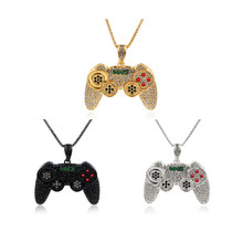 Hip Hop Game Machine Handle Necklace Pendant Men Full Crystal Long Chain Necklace Fashion Game Controller Necklace Party Jewelry(China)