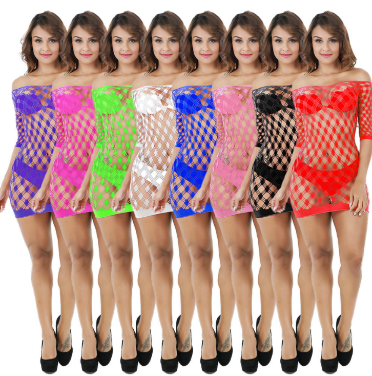 Sexy Girl Lingerie Long Sleeve Off Shoulder Dress Body Stocking Bodystocking